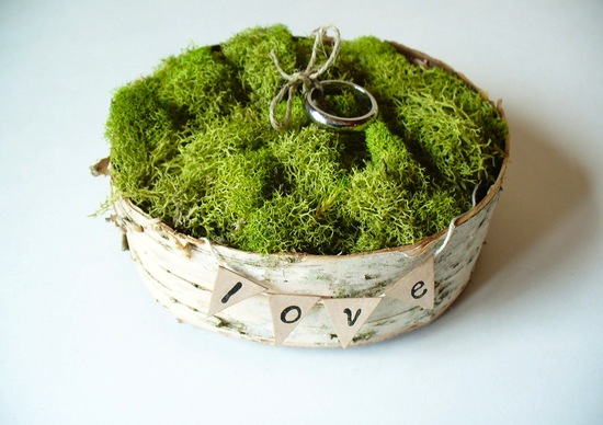 rustic moss wedding ceremony reception decor eco friendly ring bearer box