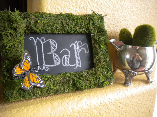 rustic moss wedding ceremony reception decor eco friendly chalkboard sign