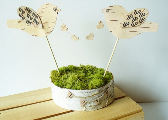 rustic moss wedding ceremony reception decor eco friendly cute cake topper