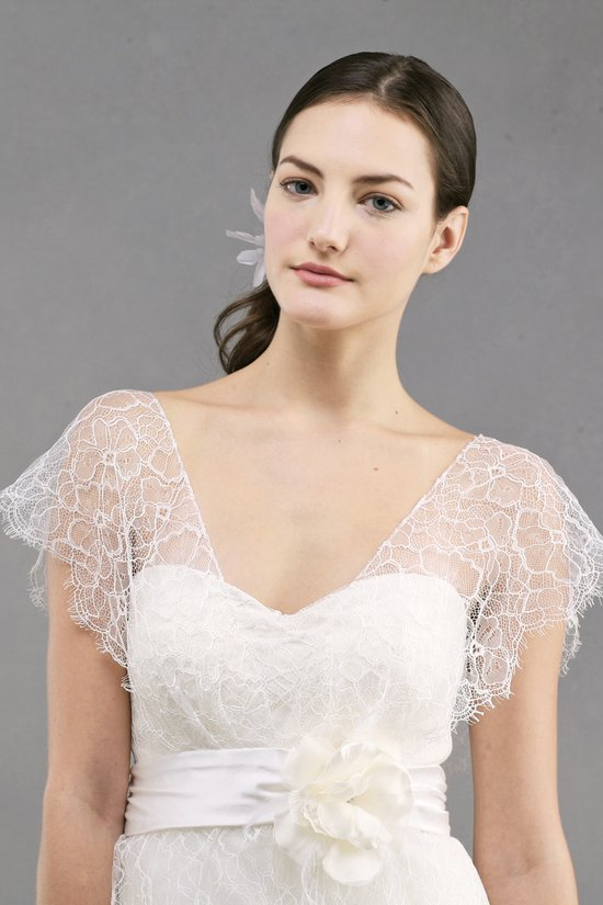 photo of wedding dress by Jenny Yoo Spring 2013 bridal Bianca lace bolero