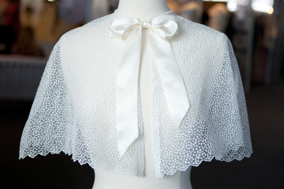 beautiful bridal boleros to top a simple wedding dress dotted cape with bow