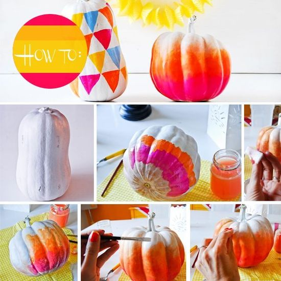 fall wedding DIY bright ombre pumpkins for reception decor