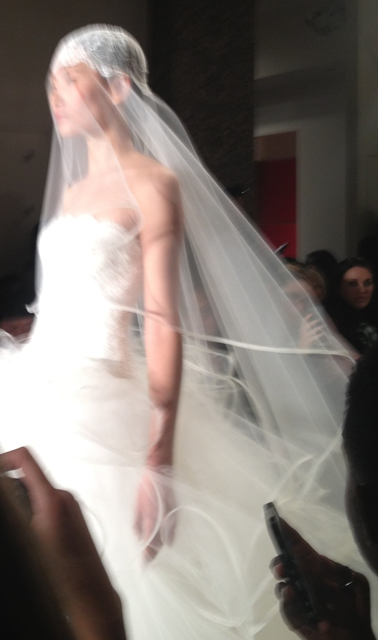 photo of unique wedding head chic Reem Acra bridal gowns spring 2013 ribbon edge veil