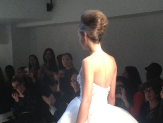 photo of kenneth pool wedding dress spring 2013 bridal beehive hairdo