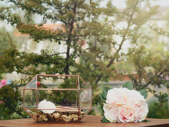 Card Box Glass Terrarium Wedding Decor